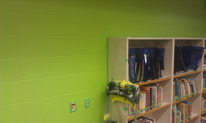 """Be There:"" Mural, 8' x 34', Acrylic on masonry, by Matt Philleo, located at Montessori School, Eau Claire, WI, in progress"