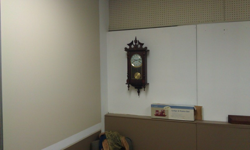 Display wall and clock reminding me to get some work done!