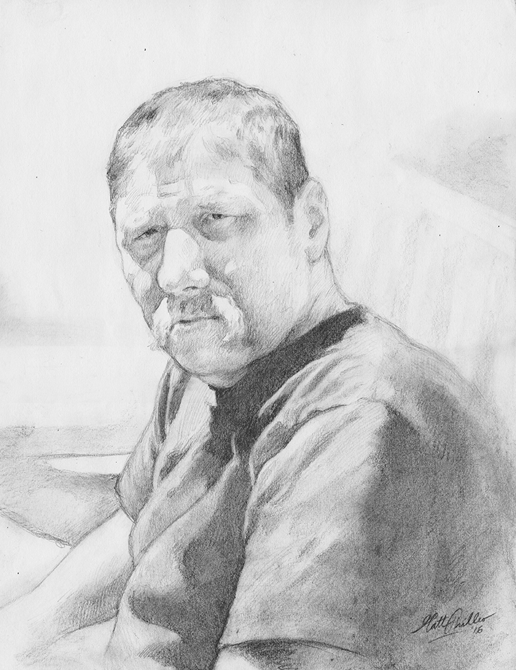 Sketch of Paul, 11 x 14, pencil on paper, by portrait artist Matt Philleo