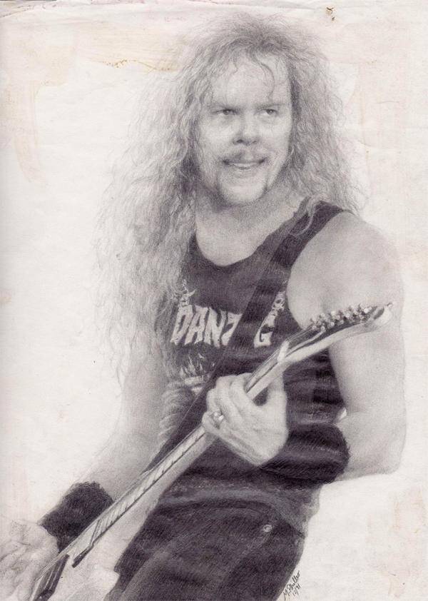 J_Hetfield, Pencil on Paper, by Matt Philleo, 1993