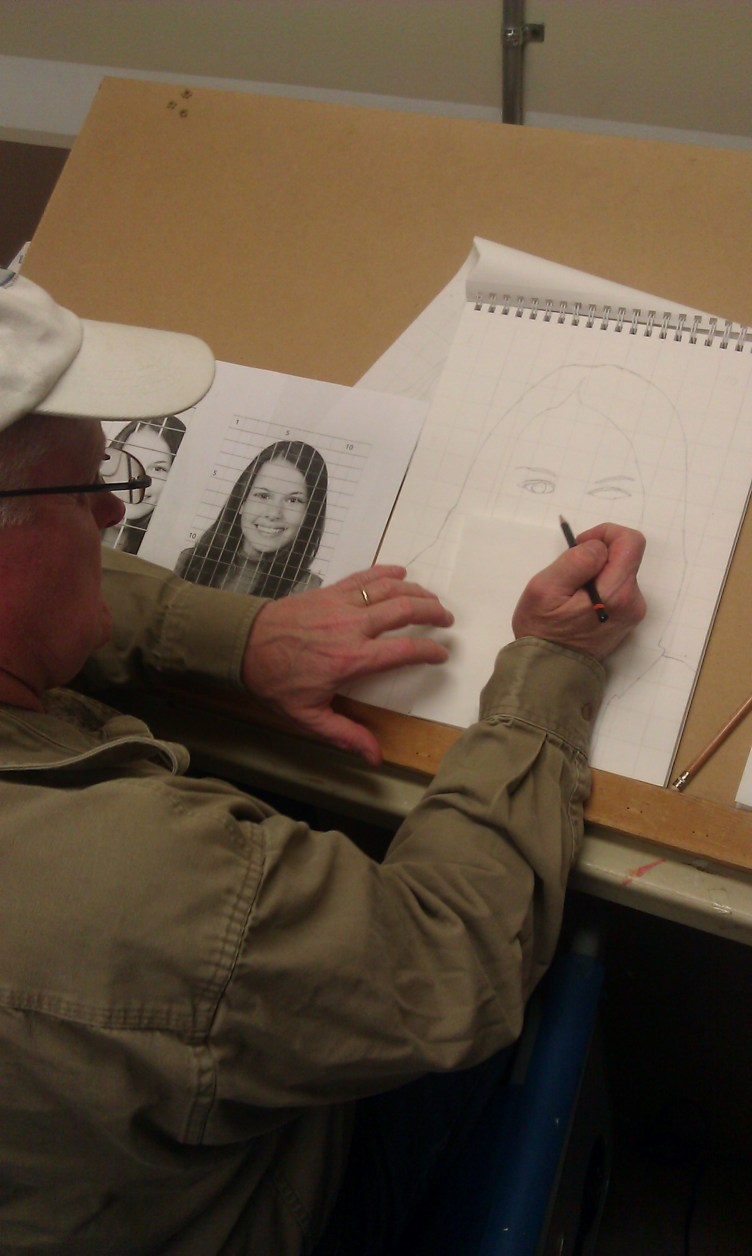 My student, Tim P., working on a pencil portrait