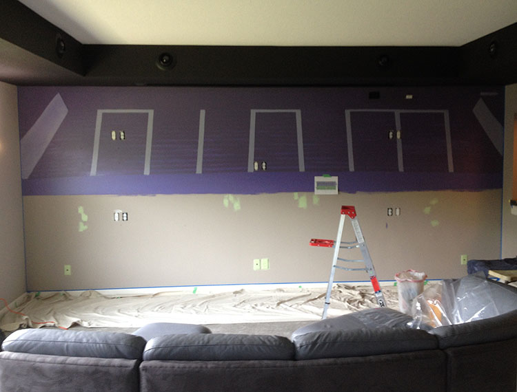 US Bank Stadium Mural, 8' x 18' Jim C's home, Lakeville, MN, in progress