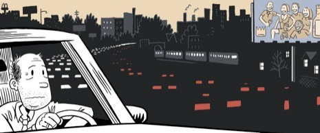Illustration of a man in a car that is struck in heavy traffic