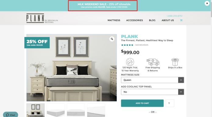 Plank mattress discount coupon - 25% Off