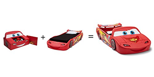 delta children cars lightning mcqueen toddler to twin bed with lights and toy box disney pixar cars