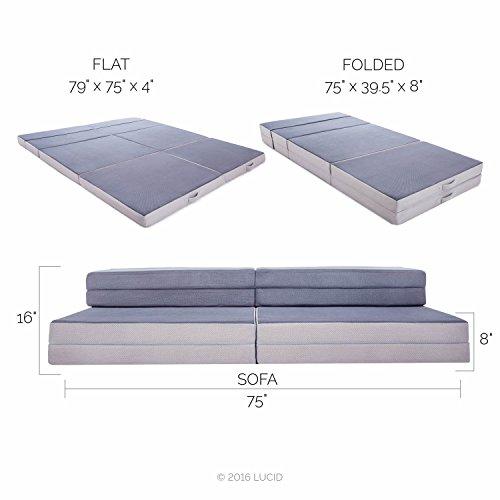 LUCID King  Twin XL Convertible Folding Foam Mattress