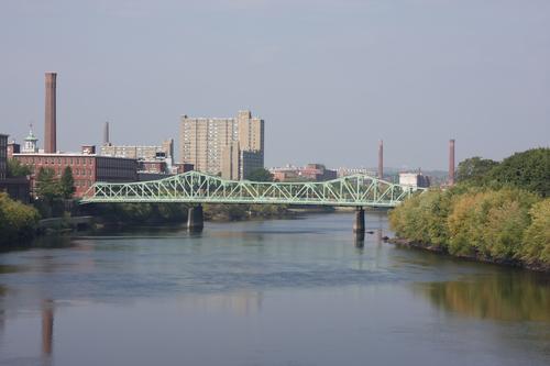 Lowell, Massachusetts Merrimack River and Cox Bridge skyline