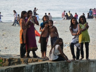 Girls on the beach at Cochin.