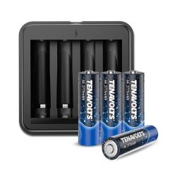 TENAVOLTS Rechargeable AA Battery Charger with 4 Counts Lithium 2775 mWh AA Rechargeable Batteries