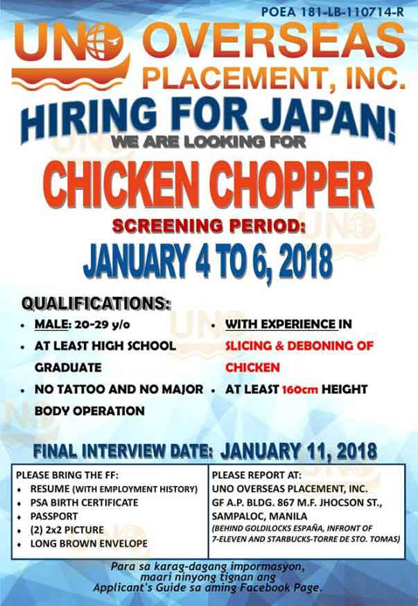 Japan Job Openings from UNO Overseas Placement Inc, List of ...