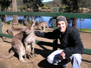 Matt with kangaroo