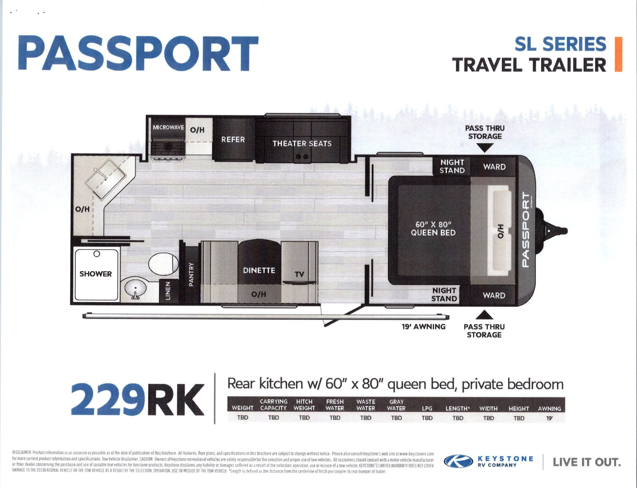 2021 Passport 229RK SL Series