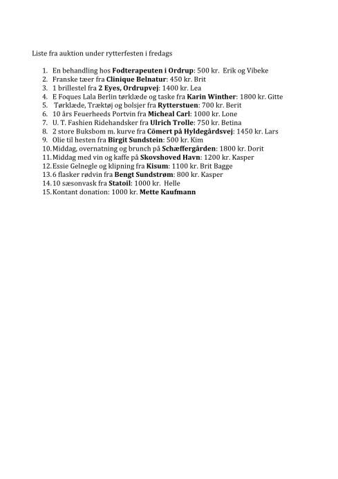 Liste fra auktion under rytterfesten i fredags