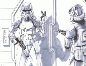 illustration of stormtroopers about to breakdown a door