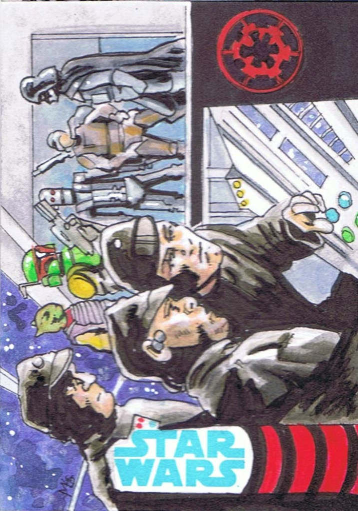 sketch card of empire strikes back star wars bounty hunters on star destroyer bridge