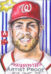 leaf artist proof sketch card of bryce harper