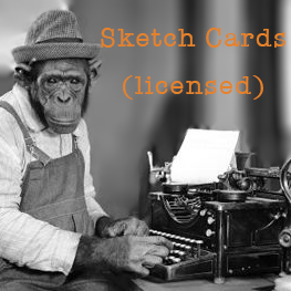 monkey at a type writer with text that says licensed sketch cards