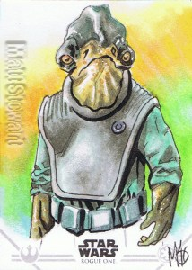 Star Wars Rogue One Series Two sketch card Admiral Raddus