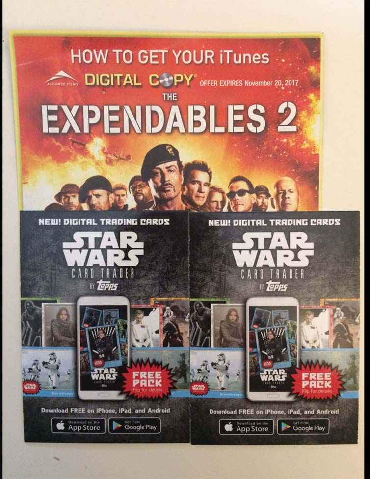 Star Wars and Expendables 2 Digital downlaods