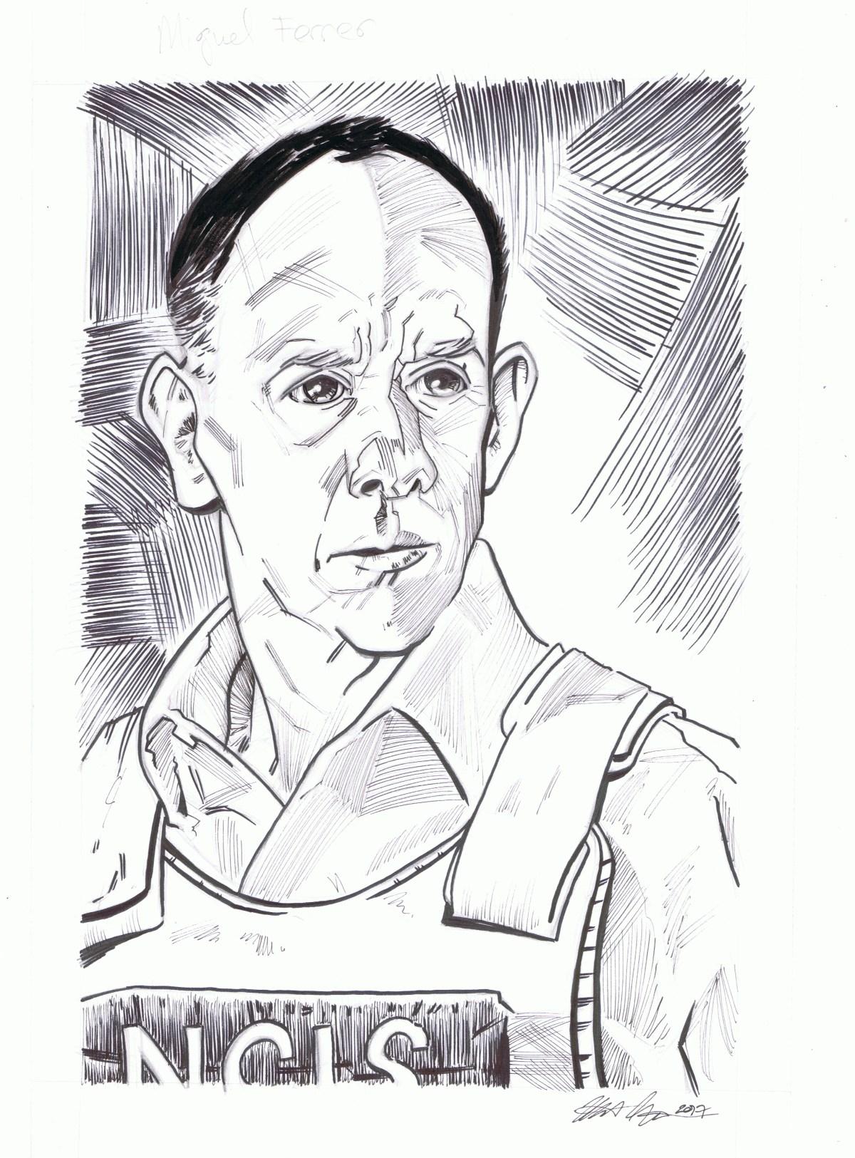 Miguel Ferrer inked portrait by matt stewart