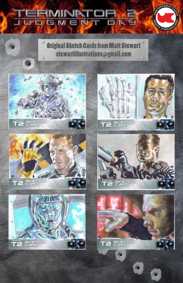 Sketch cards of Terminator 2 from Unstoppable cards by matt stewart, sheet 1