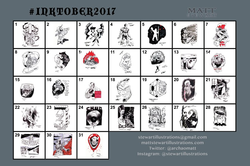 all of the #inktober2017 sketches from matt stewart