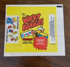 wrapper from 1970s package of topps wacky packages