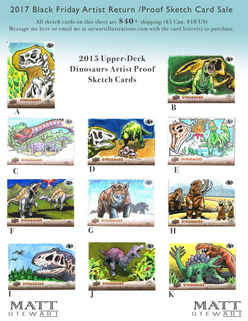 2015 upper deck dinosaurs artist return sketch cards by matt stewart