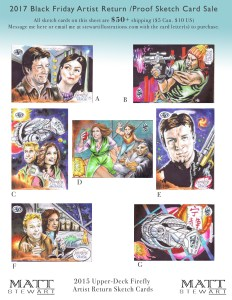 2015 upper deck firefly artist return sketch cards by matt stewart