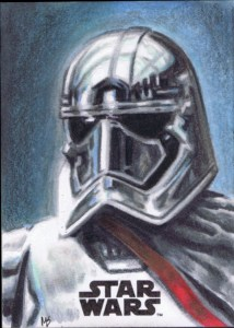 topps 2017 the last jedi captain phasma sketch card by matt stewart