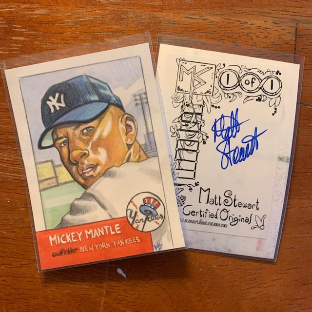 Mickey Mantle Personal Sketch Cards