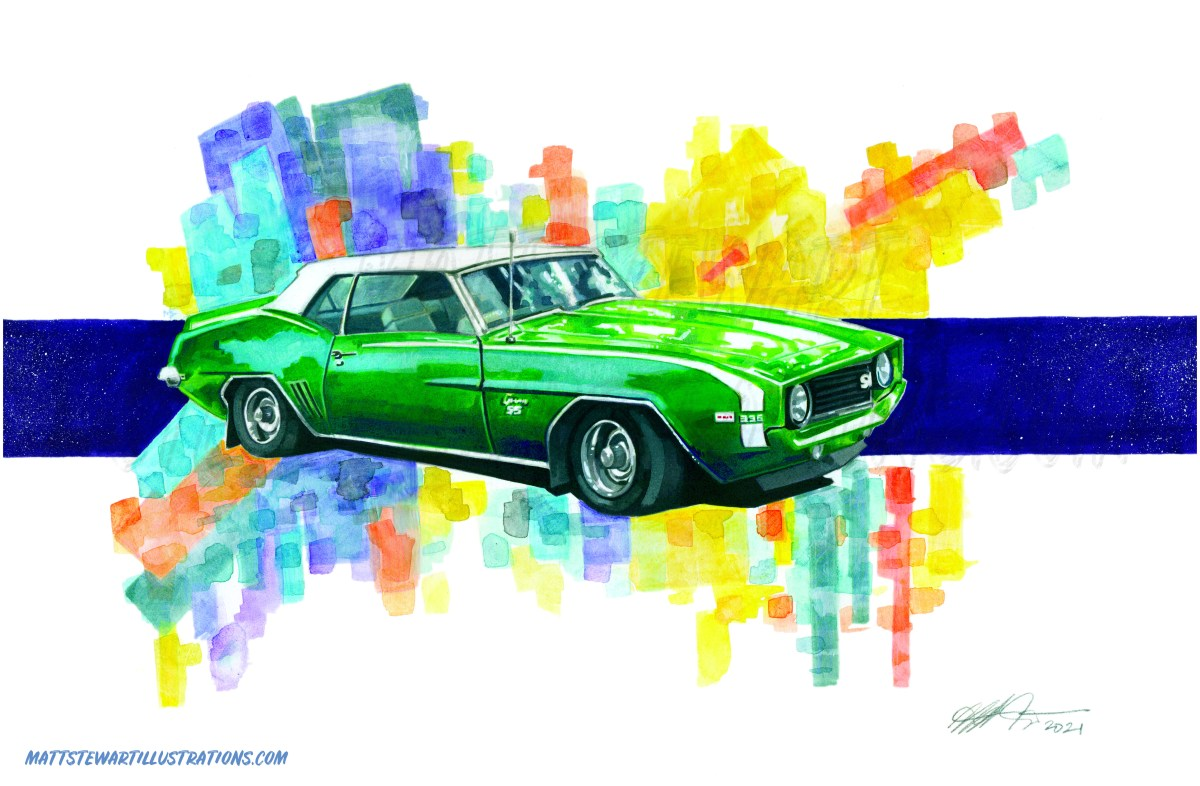 Commissioned Painting of a Muscle Car