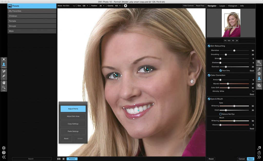 New look when working on facial adjustments in the Portrait module.