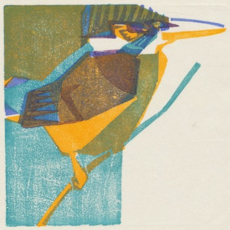 """Kingfisher"" woodblock print by Matt Underwood"