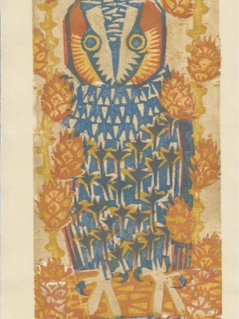 """Larch Tree Owl"" woodblock print by Matt Underwood"