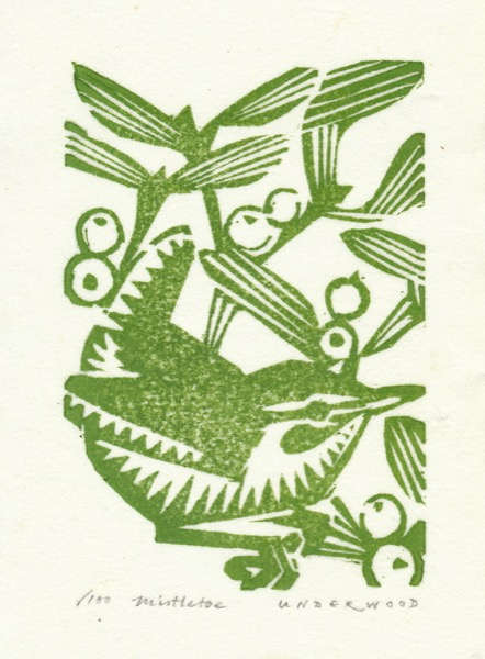 """Mistletoe"" woodblock print by Matt Underwood"