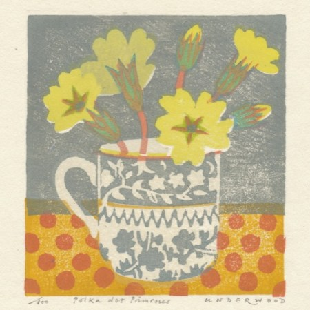 """Polka dot Primroses"" woodblock print by Matt Underwood"