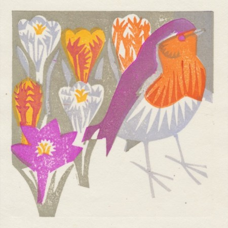 """Robin Redbreast"" woodblock print by Matt Underwood"