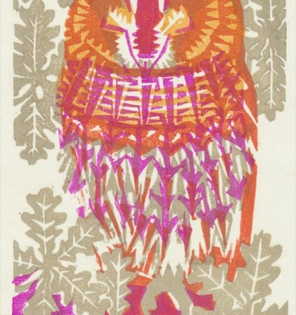 """Sleepy Tawny Owl"" woodblock print by Matt Underwood"