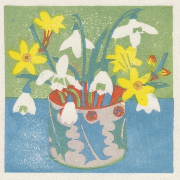 """Snowdrops and Winter Jasmine"" woodblock print by Matt Underwood"
