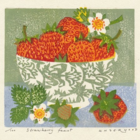 """Strawberry feast"" woodblock print by Matt Underwood"
