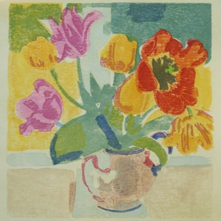 """Tulips"" woodblock print by Matt Underwood"