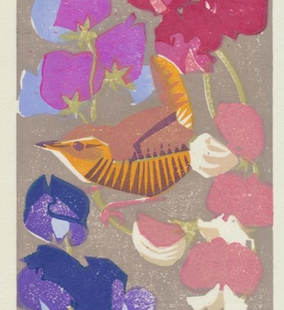 """Among the Sweet Peas"" woodblock print by Matt Underwood"