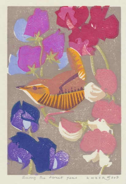 """Among the Sweet Peas"" woodblock print by Matt Underwood"