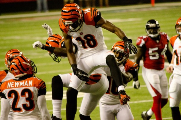A.J. Green gets gone in a hurry both downfield and once the top quarterbacks left  the RSP Green Room. Photo by Football Schedule.