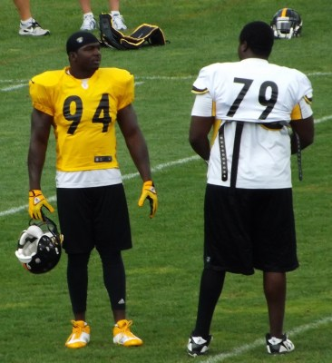 Bookends or book shelves? Ask Brugler how he intends to use Lawrence Timmons and Brandon Graham in his defense. Photo by Jeff Bryk