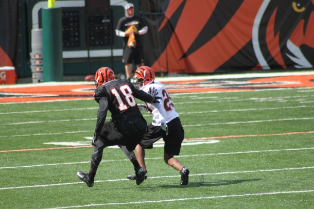 When you're served A.J. Green for breakfast, the rest of the league's wide receivers probably don't seem as challenging to Leon Hall. Photo by Navin75.
