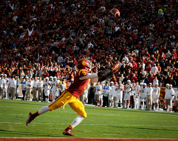 Marqise Lee demonstrates why good technique matters. Photo by James Santelli.