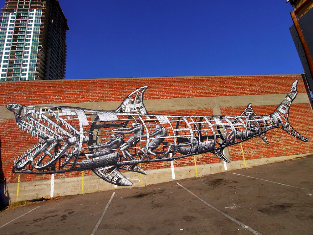"""Mural by """"Phlegm"""" found at Colossal. http://www.thisiscolossal.com/2014/11/new-shark-mural-by-phlegm-in-san-diego/"""
