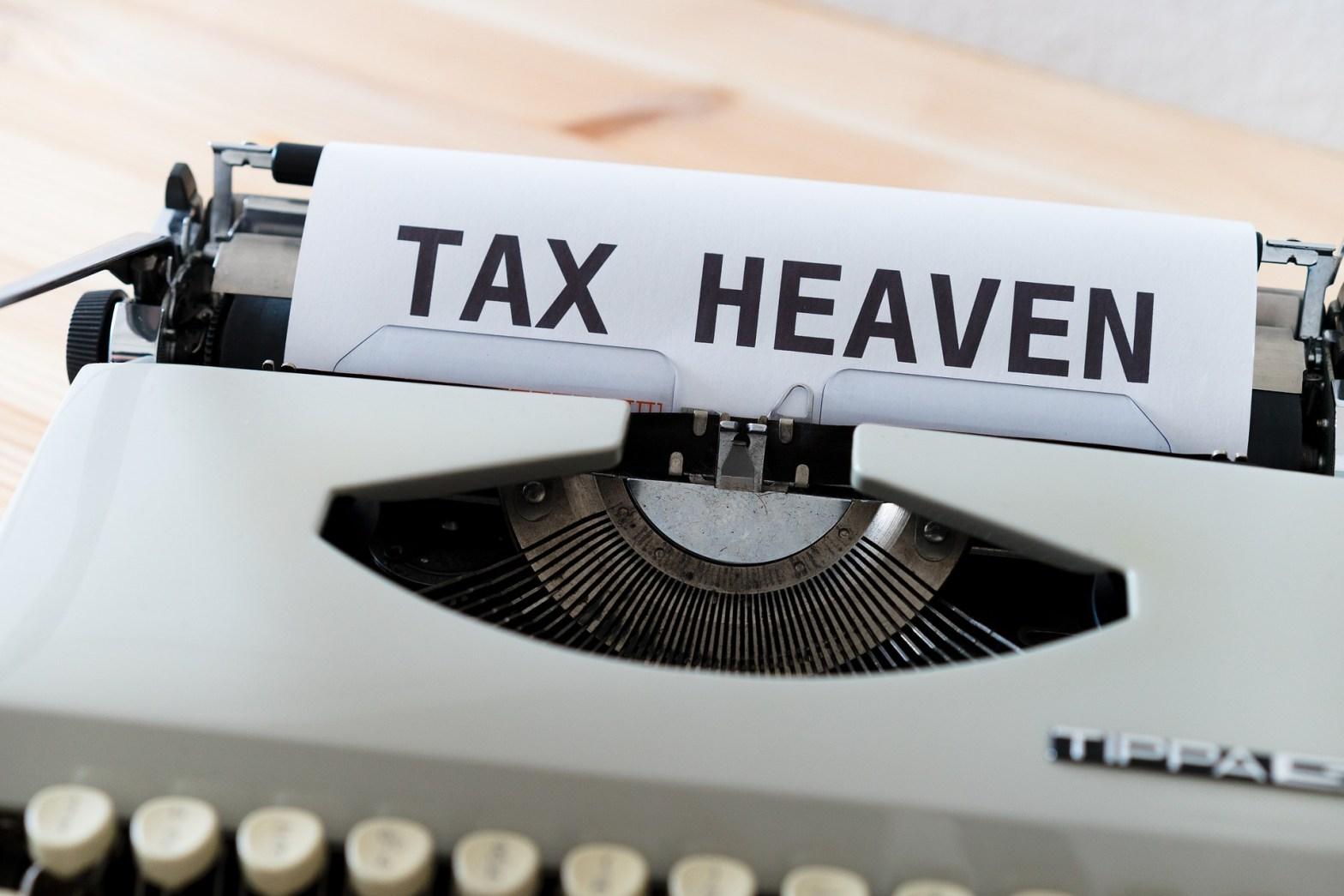 typewriter saying Tax Heaven
